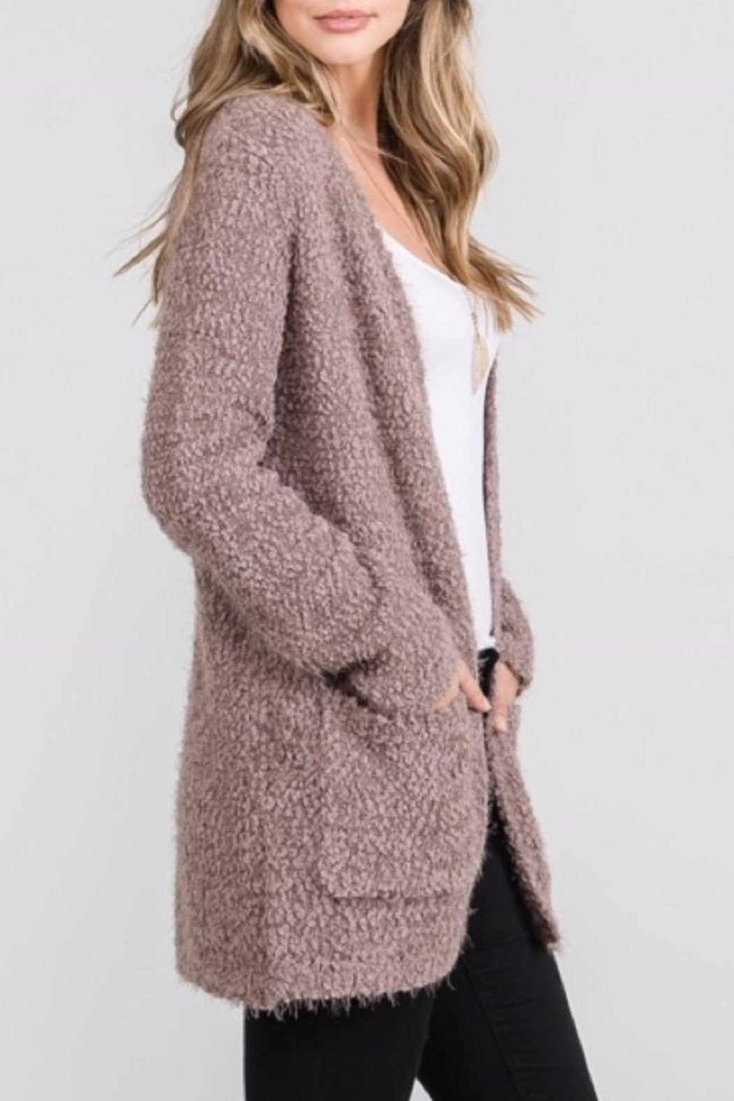 Be Cool Open Fuzzy Cardigan - Front Full Image