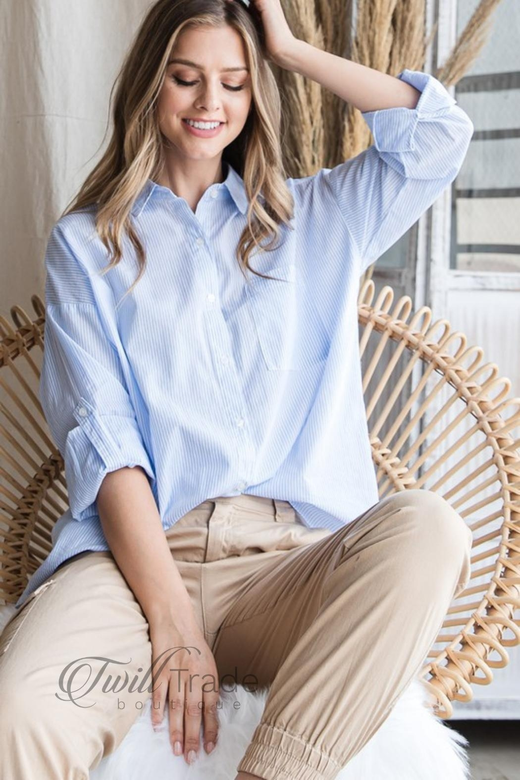 Be Cool Oversized Pinstripe Shirt - Side Cropped Image
