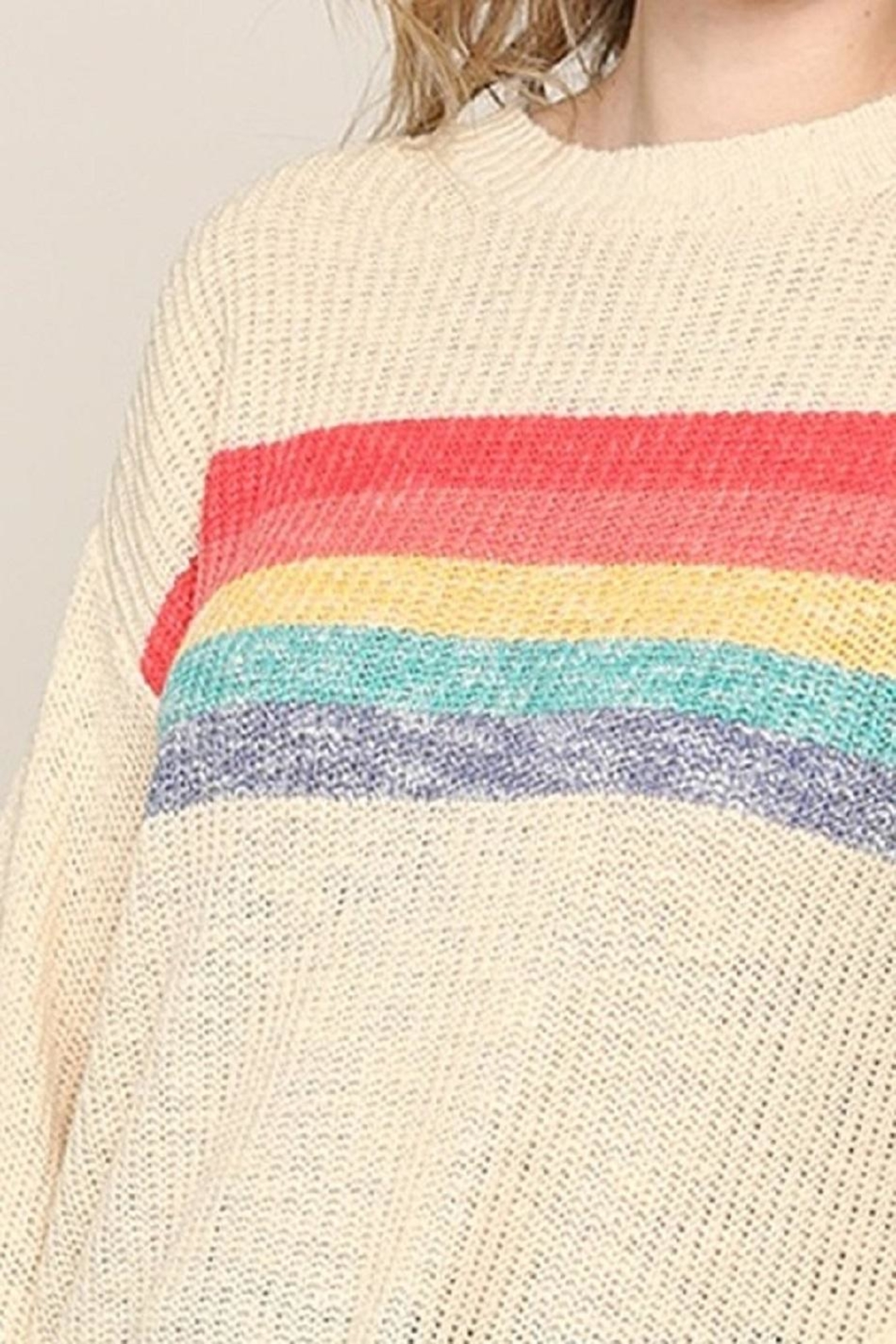 Be Cool Rainbow Lightweight Sweater - Side Cropped Image