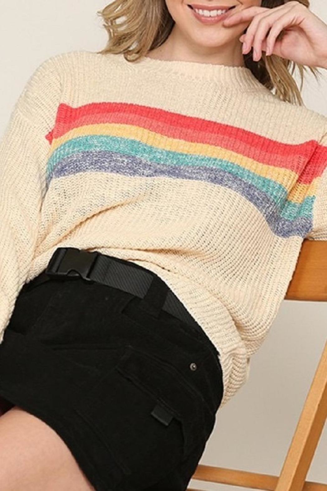 Be Cool Rainbow Lightweight Sweater - Front Full Image