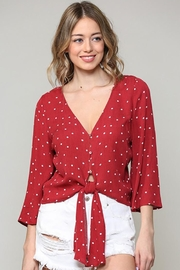 Be Cool V-Neck Polka Dot Blouse - Product Mini Image