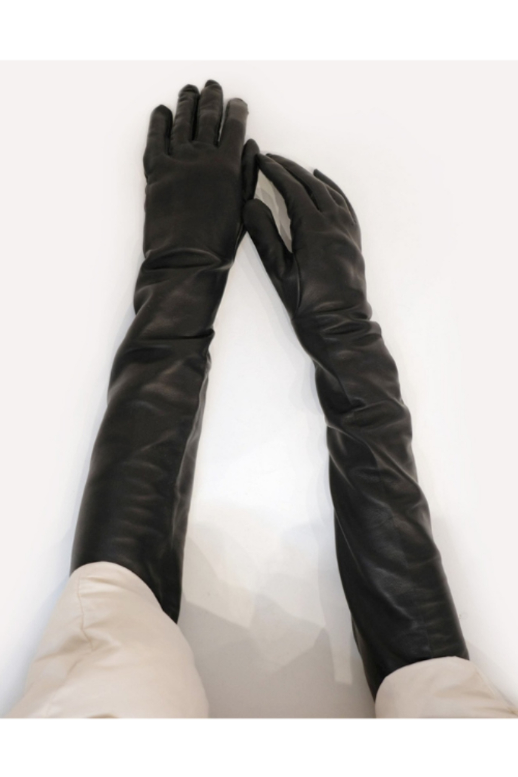 Cynthia Rowley Bea Long Leather Gloves - Side Cropped Image