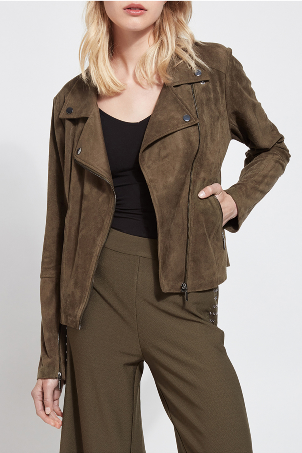 Lysse Bea Suede Moto Jacket - Front Cropped Image