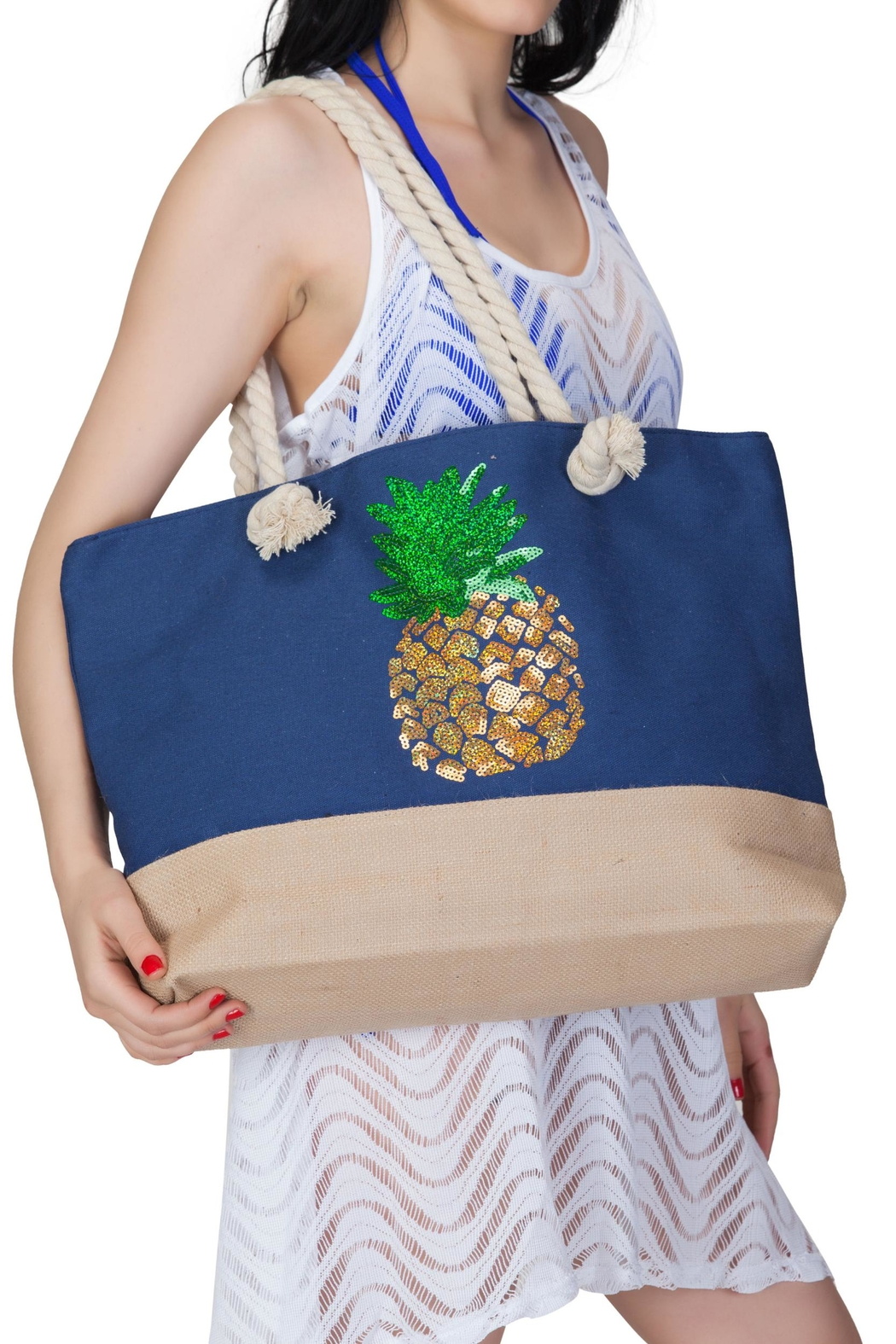 India Boutique Beach Tote Pineapple - Main Image
