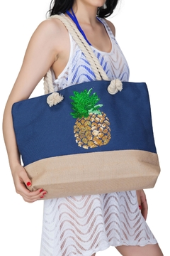 India Boutique Beach Tote Pineapple - Alternate List Image