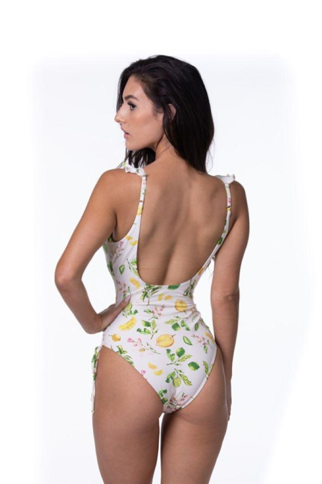 beach joy Lemon Print One Piece Swimsuit - Back Cropped Image