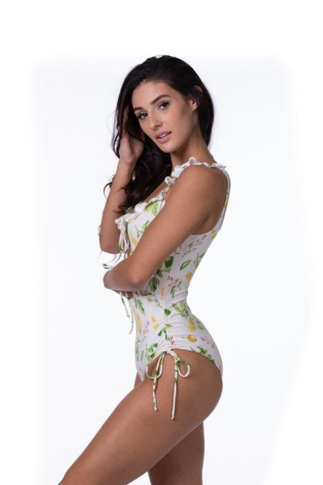 beach joy Lemon Print One Piece Swimsuit - Side Cropped Image
