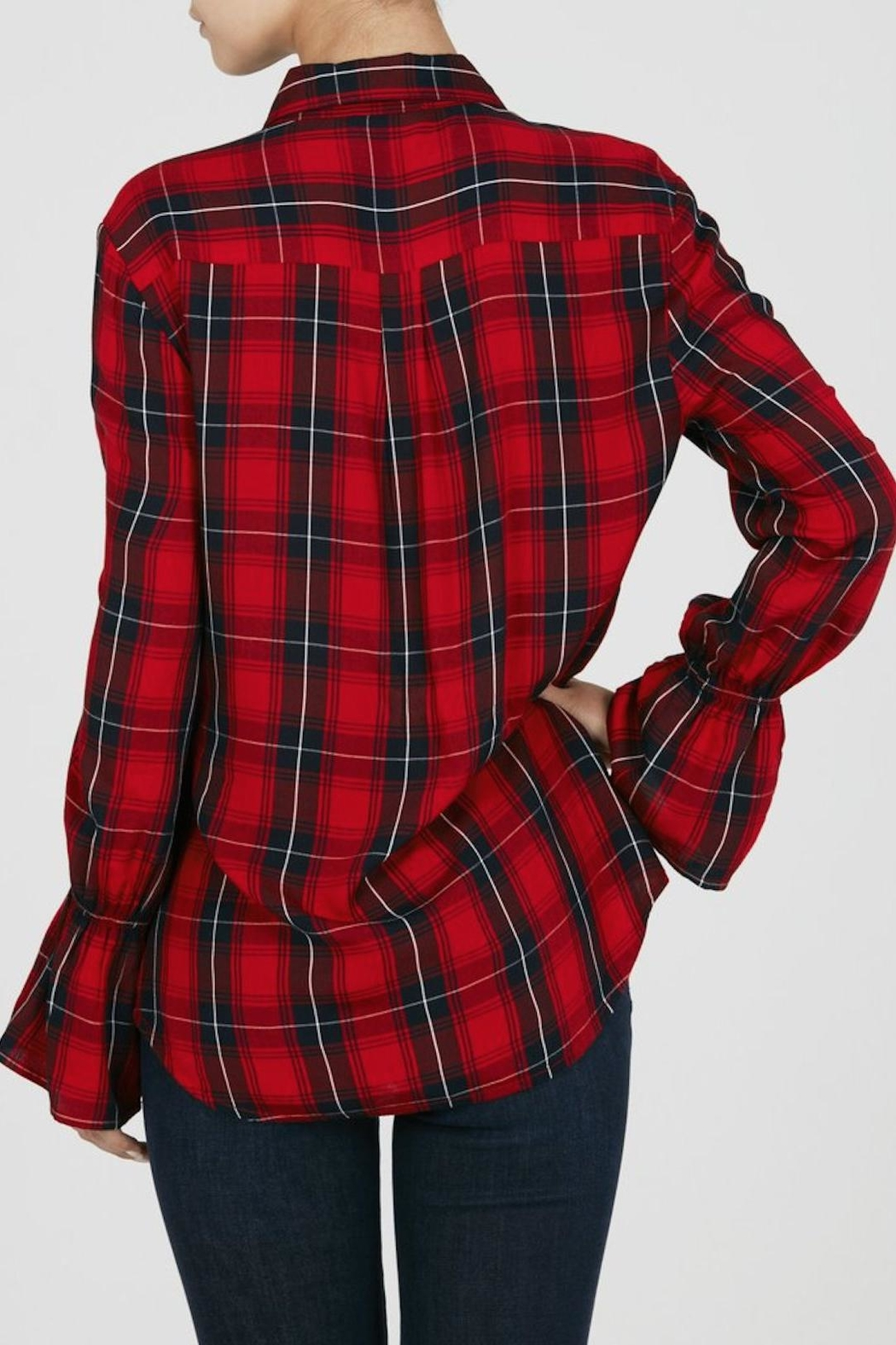 Beach Lunch Lounge Bell Sleeve Plaid Shirt - Front Full Image