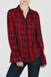 Beach Lunch Lounge Bell Sleeve Plaid Shirt - Front cropped
