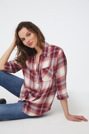 beachlunchlounge Red Plaid Buttondown - Front cropped