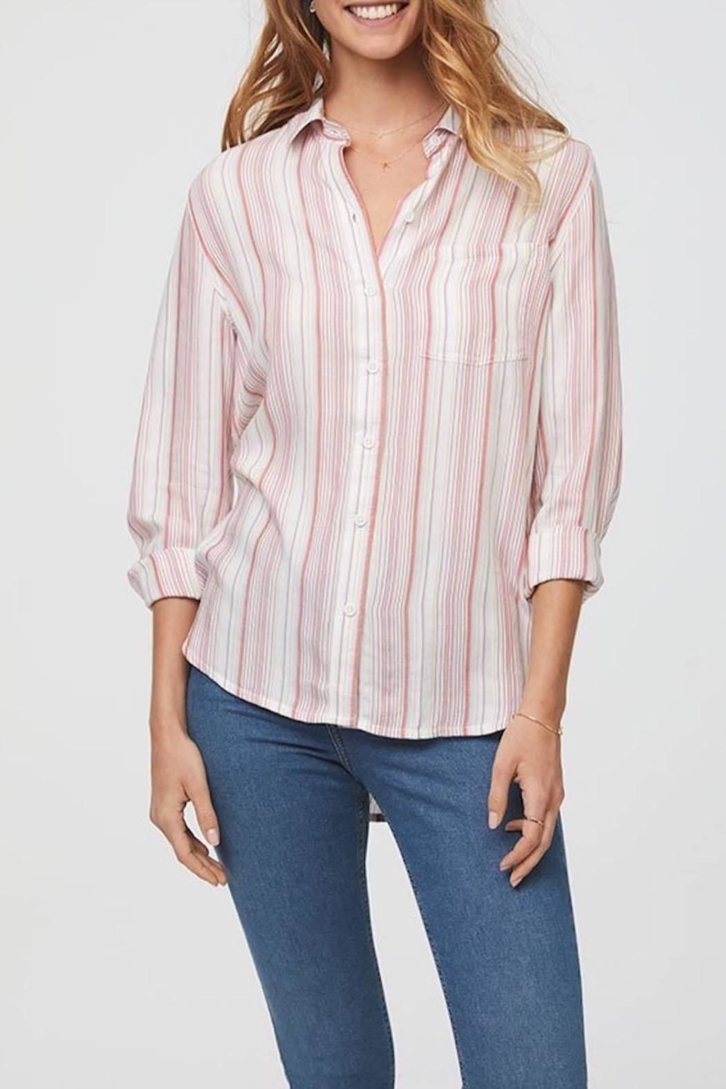Beach Lunch Lounge Striped Button Down - Front Full Image
