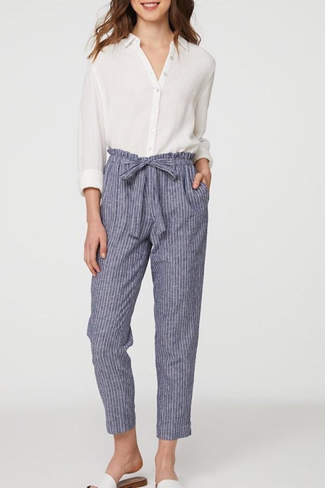 Beach Lunch Lounge Striped Linen Pants - Main Image