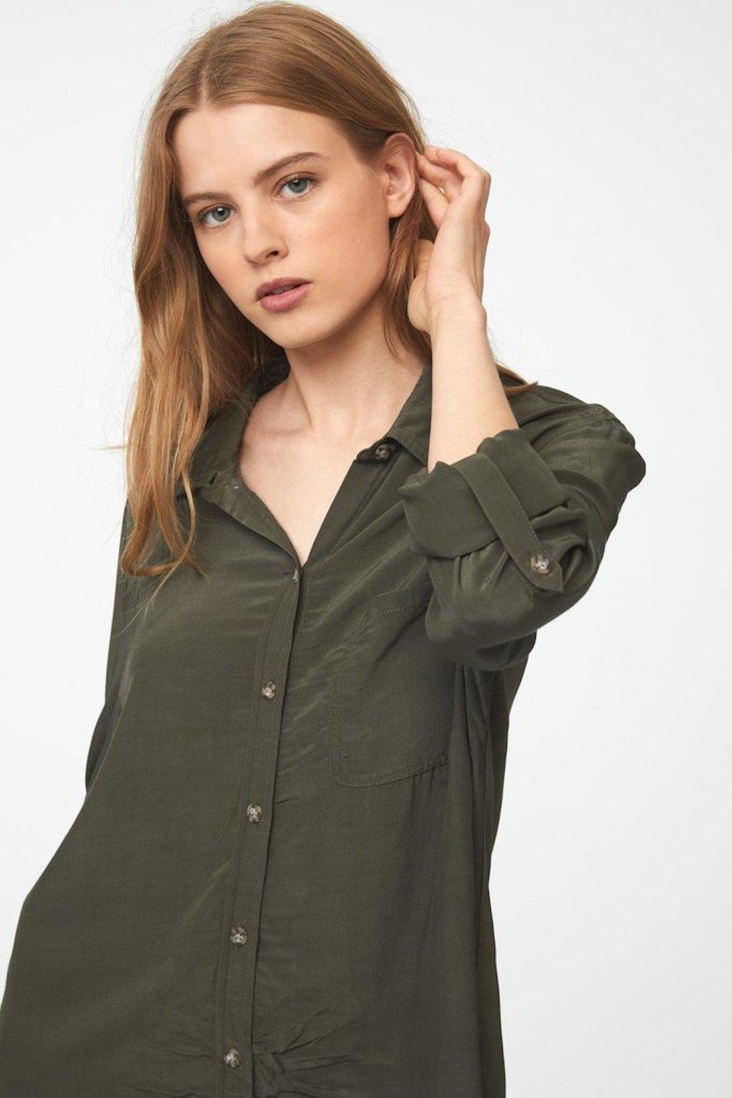 beachlunchlounge Olive Button Down - Side Cropped Image