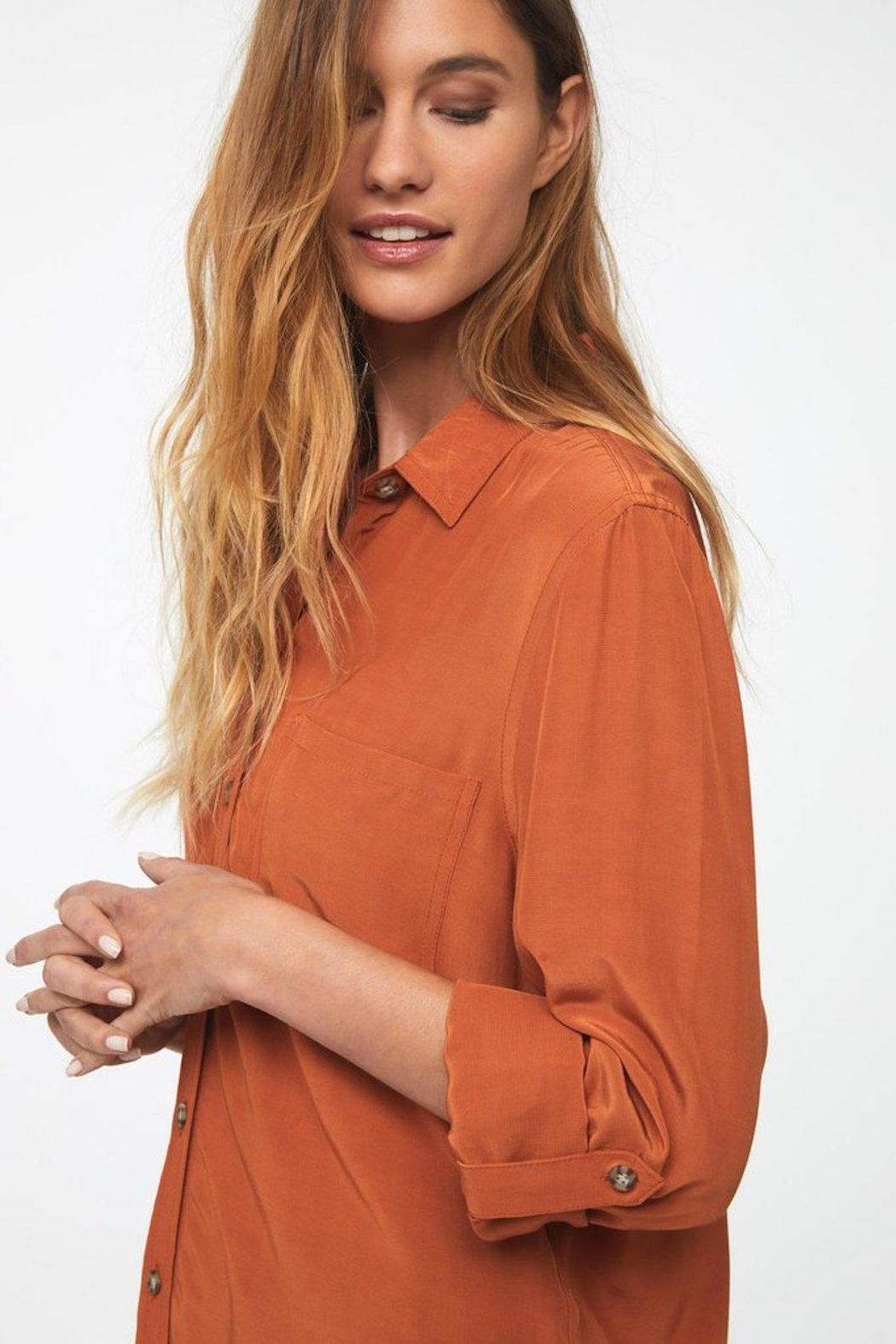 beachlunchlounge Orange Button Down - Front Full Image