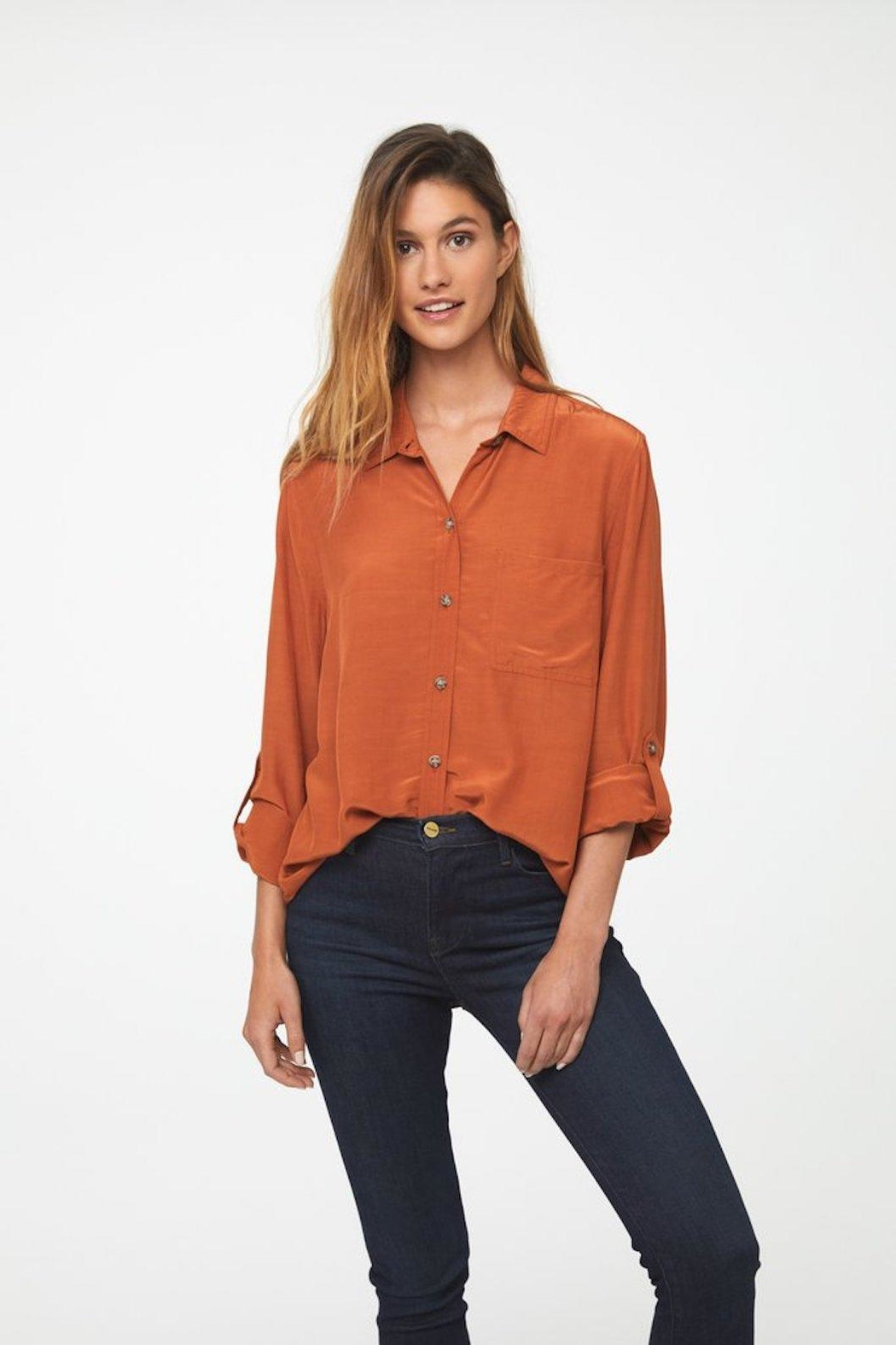 beachlunchlounge Orange Button Down - Back Cropped Image