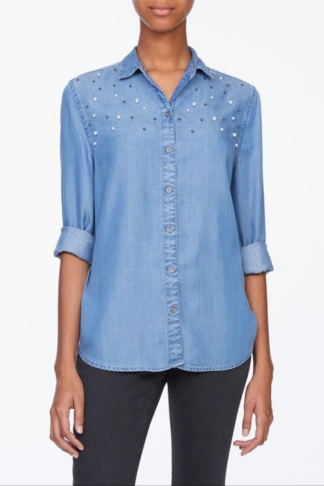 beachlunchlounge Pearl Denim Shirt - Front Cropped Image