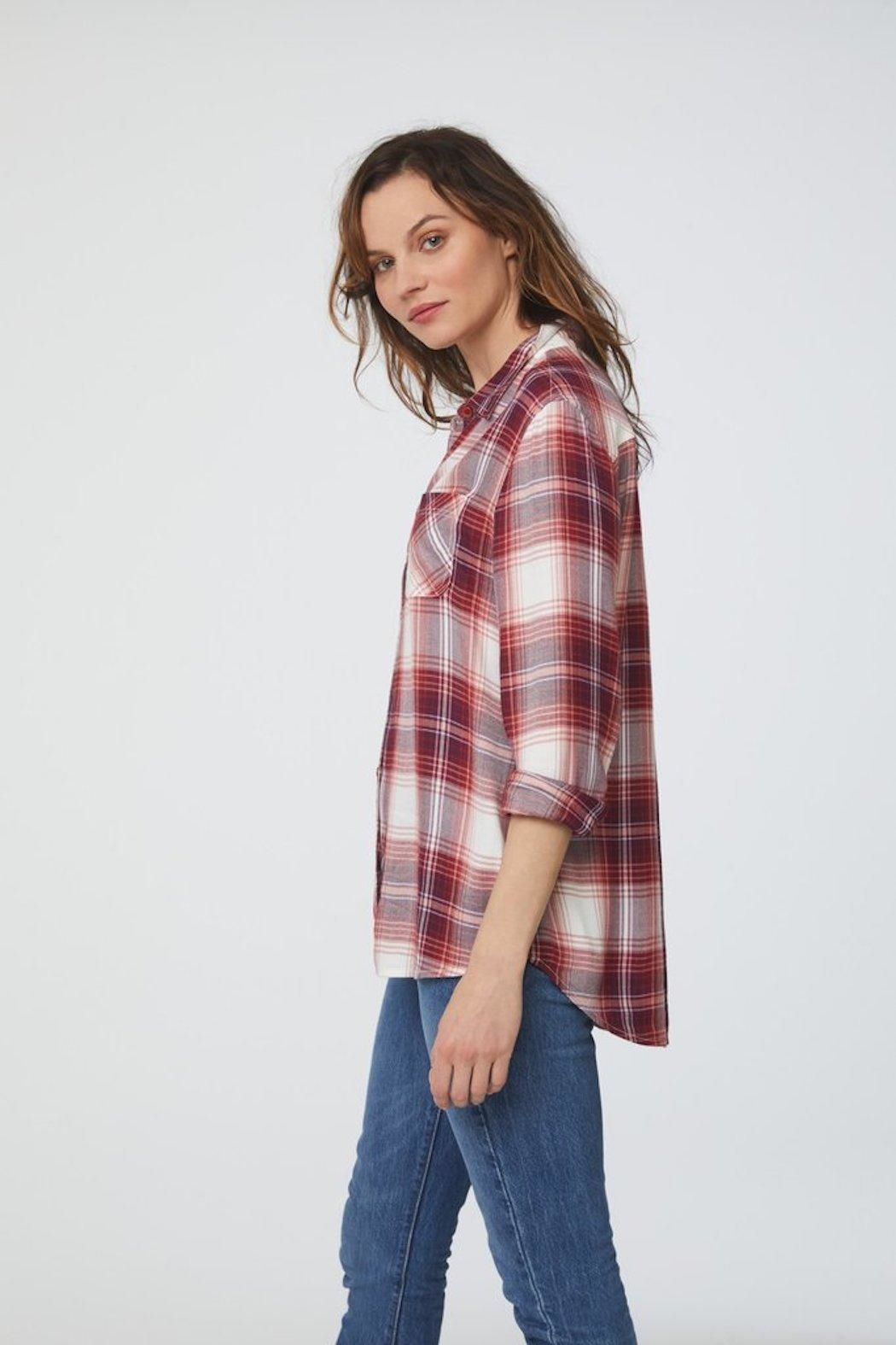 beachlunchlounge Red Flannel Buttondown - Front Full Image