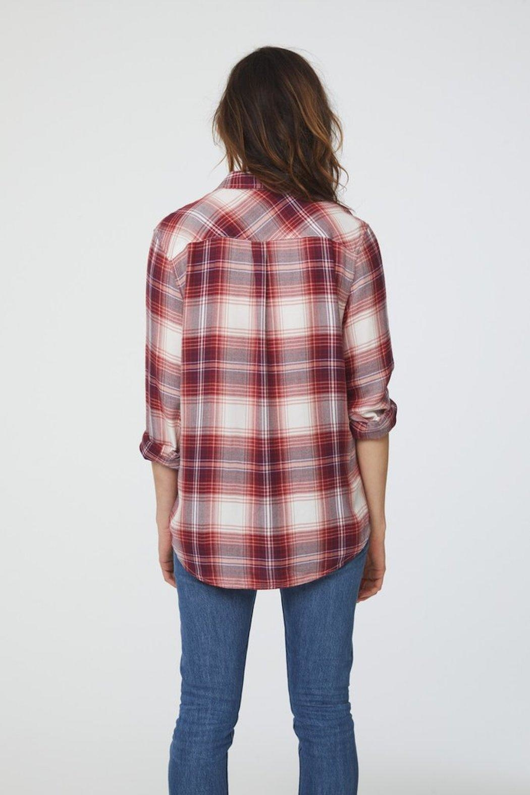 beachlunchlounge Red Flannel Buttondown - Side Cropped Image