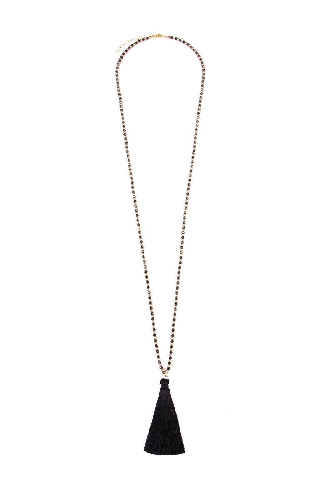 Riah Fashion Bead Tassel Necklace - Front Cropped Image