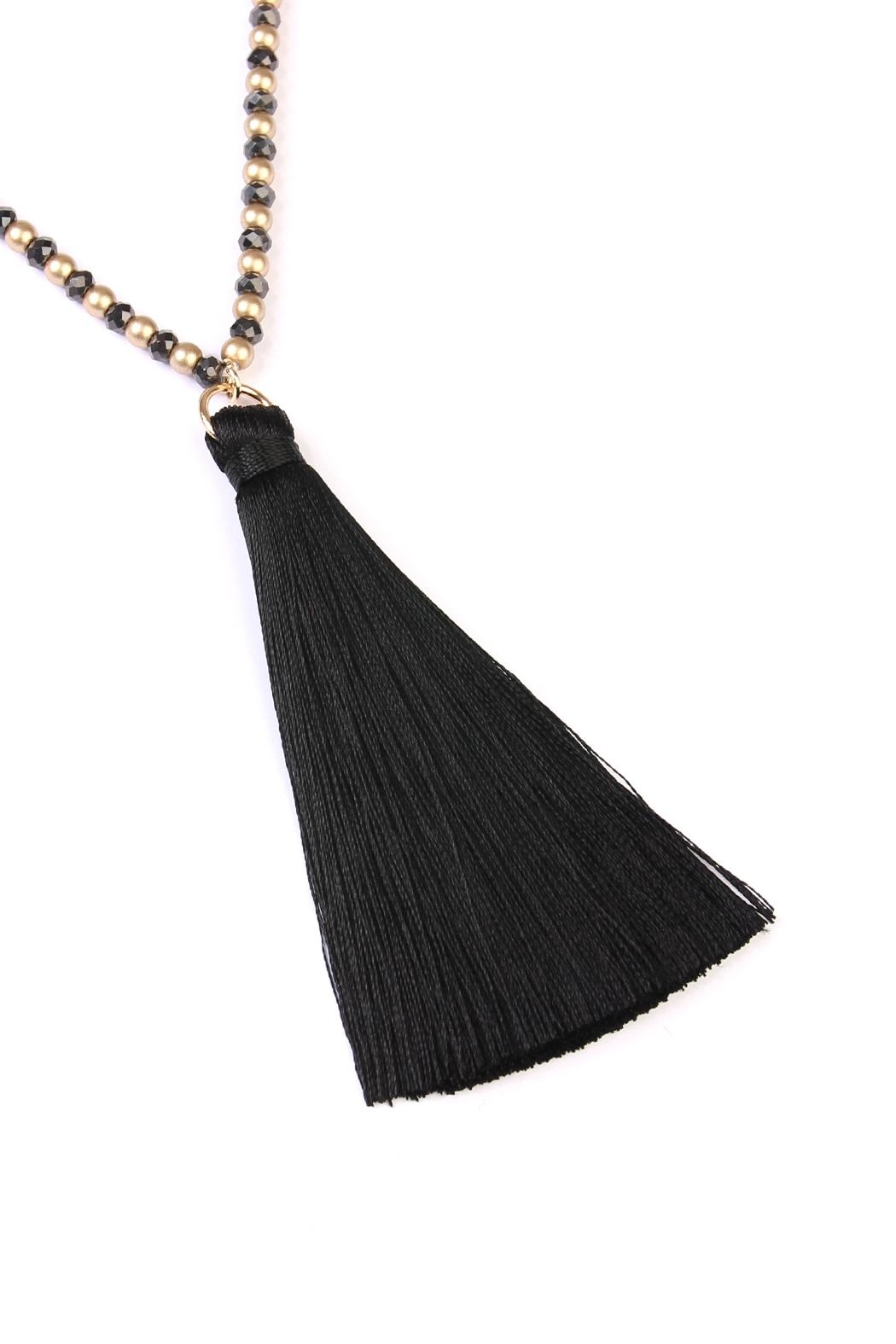 Riah Fashion Bead Tassel Necklace - Front Full Image
