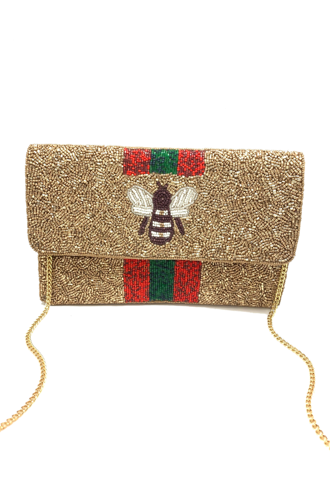 LA Chic Beaded Bee Clutch - Main Image