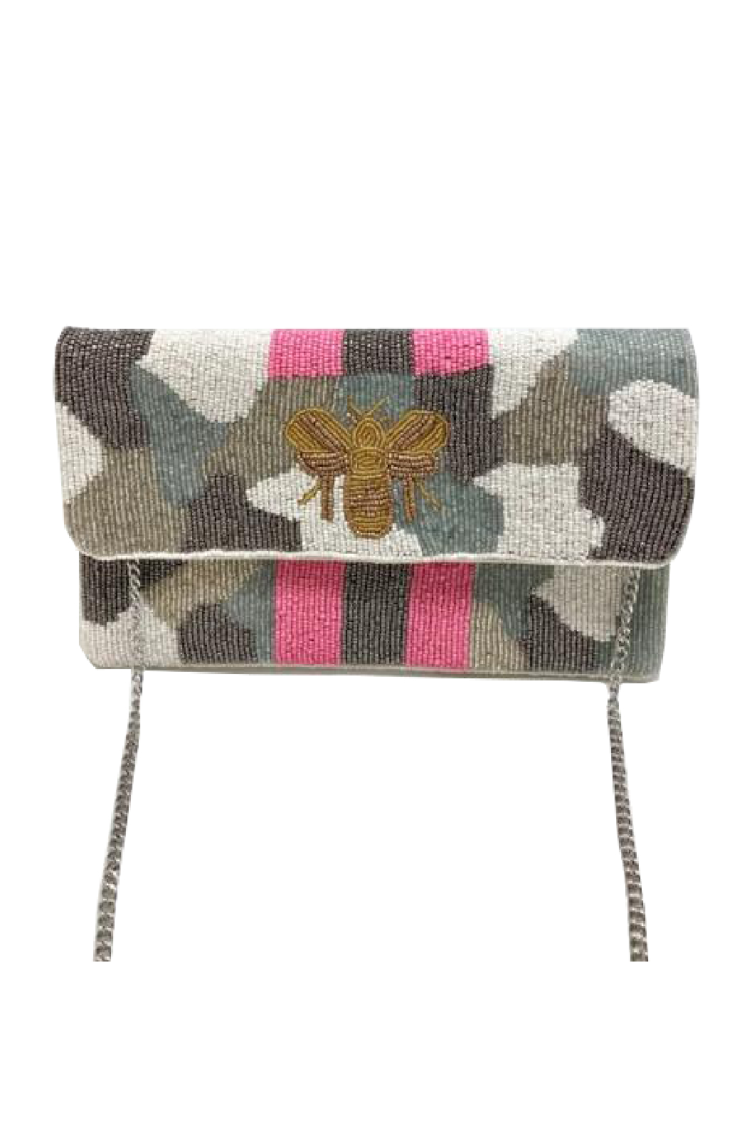 LA Chic Beaded Bee Clutch - Front Cropped Image