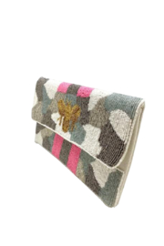 LA Chic Beaded Bee Clutch - Side cropped