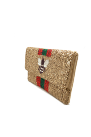 LA Chic Beaded Bee Clutch - Front full body