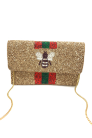 LA Chic Beaded Bee Clutch - Front cropped