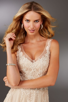 MGNY Beaded Bodice A-Line Gown, Champagne - Alternate List Image