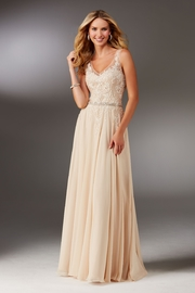 MGNY Beaded Bodice A-Line Gown, Champagne - Product Mini Image