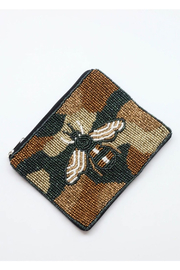 Caroline Beaded Camo Bee Coin Purse - Product Mini Image