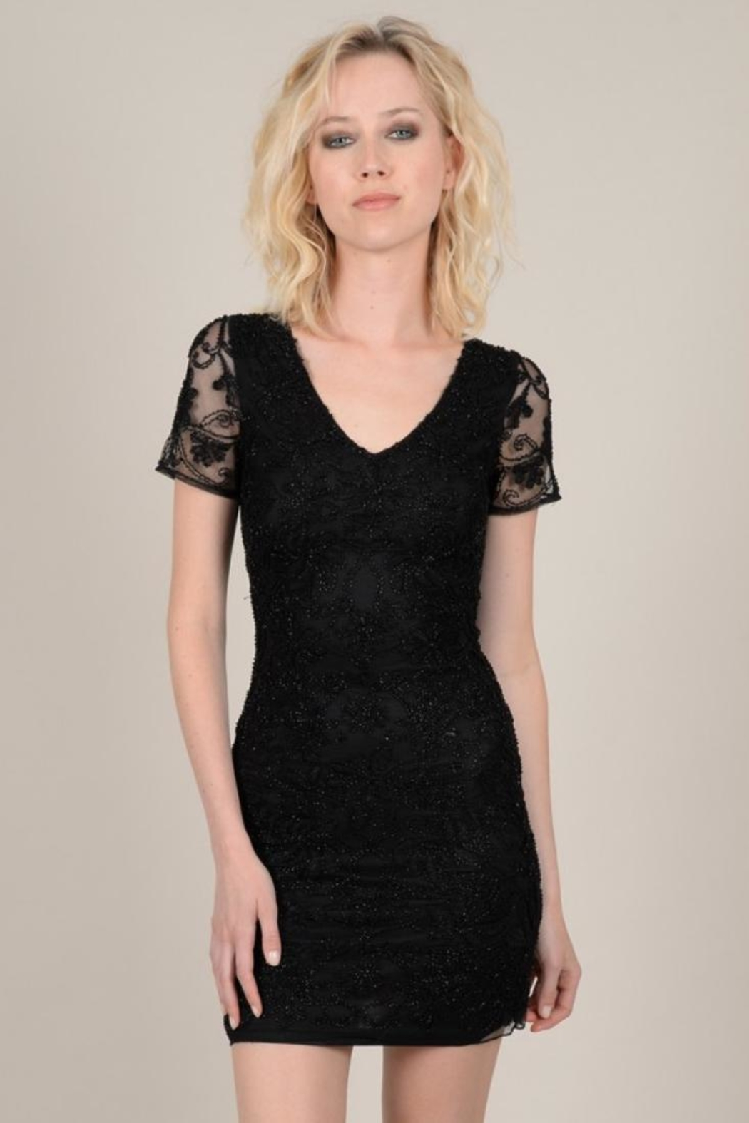 Molly Bracken Beaded Cap-Sleeve Dress - Front Cropped Image
