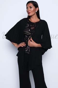 Shoptiques Product: Beaded Chiffon Cover Up Bat Sleeve Top