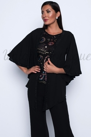 Frank Lyman Beaded Chiffon Cover Up Bat Sleeve Top - Product Mini Image