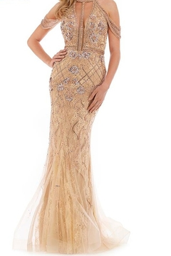 Morrell Maxie Beaded Drape Shoulder Gown - Product List Image