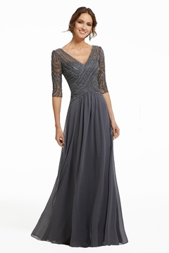 MGNY Beaded Embroidery Dress, Charcoal - Product List Image