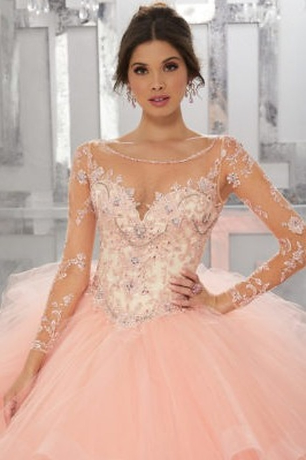 Morilee Beaded Embroidery Flounced Tulle Ball Gown w/ Matching Stole - Front Full Image
