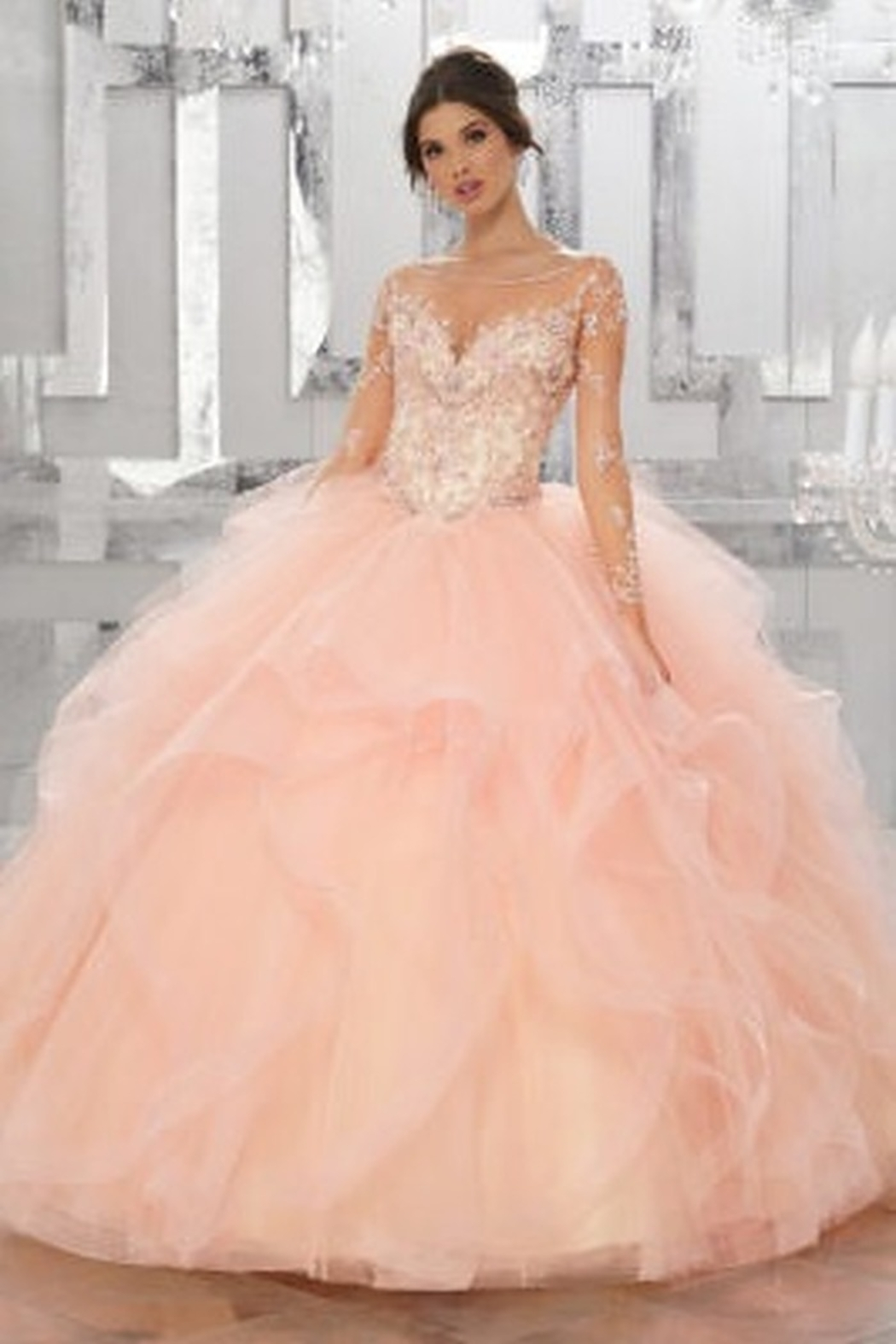 Morilee Beaded Embroidery Flounced Tulle Ball Gown w/ Matching Stole - Main Image