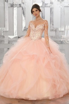 Morilee Beaded Embroidery Flounced Tulle Ball Gown w/ Matching Stole - Product List Image