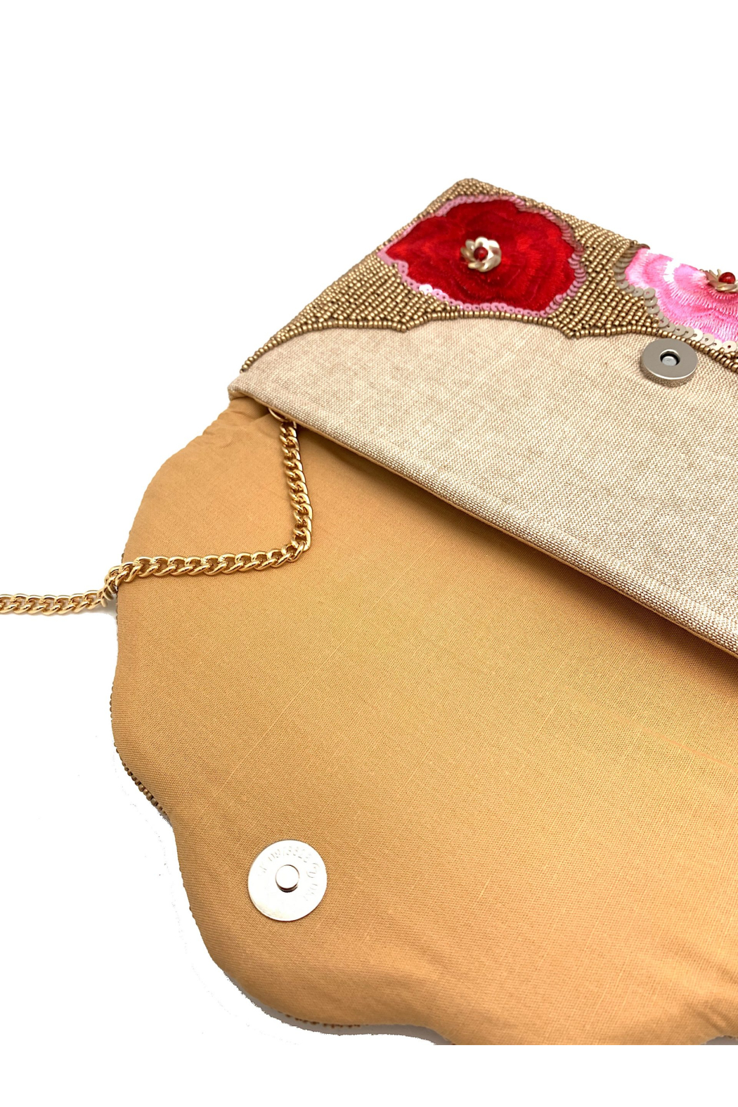 LA Chic Beaded Floral Clutch - Side Cropped Image