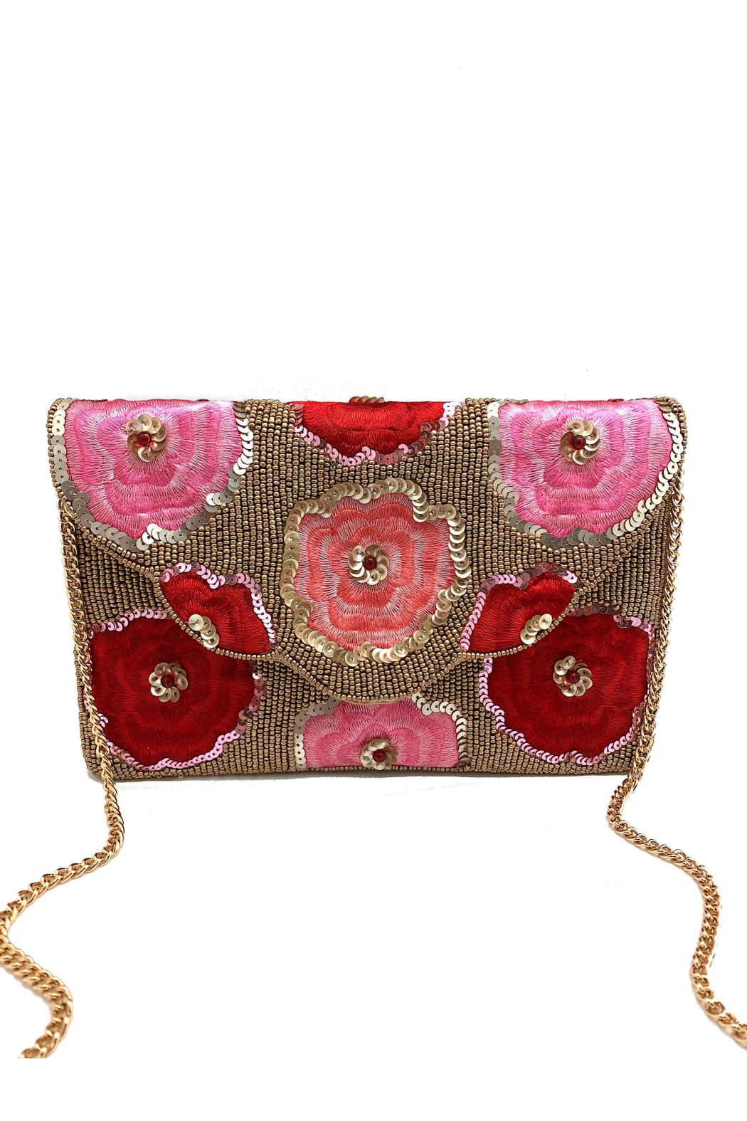 LA Chic Beaded Floral Clutch - Main Image