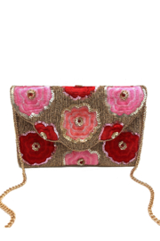LA Chic Beaded Floral Clutch - Front cropped