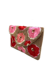 LA Chic Beaded Floral Clutch - Front full body
