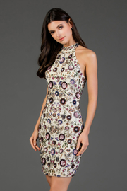 Scala Beaded Floral High Neck Sheath Dress - Front cropped