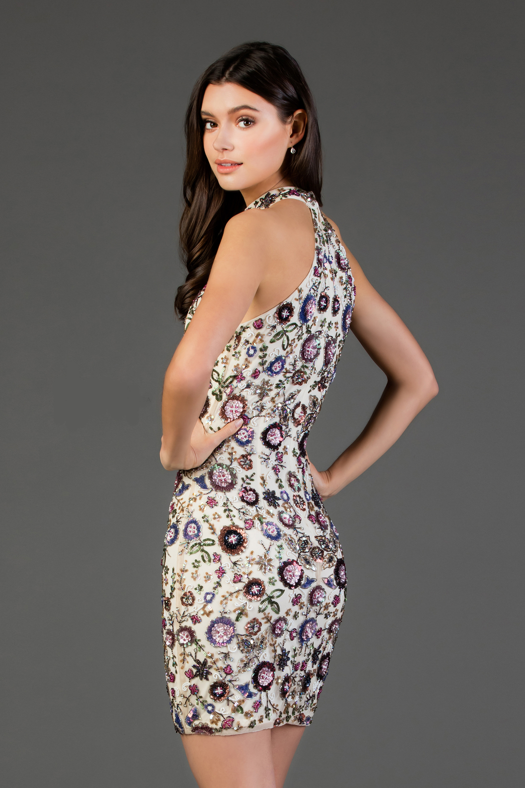 Scala Beaded Floral High Neck Sheath Dress - Front Full Image
