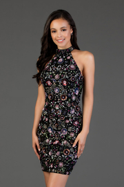 Scala Beaded Floral High Neck Sheath Dress - Product Mini Image