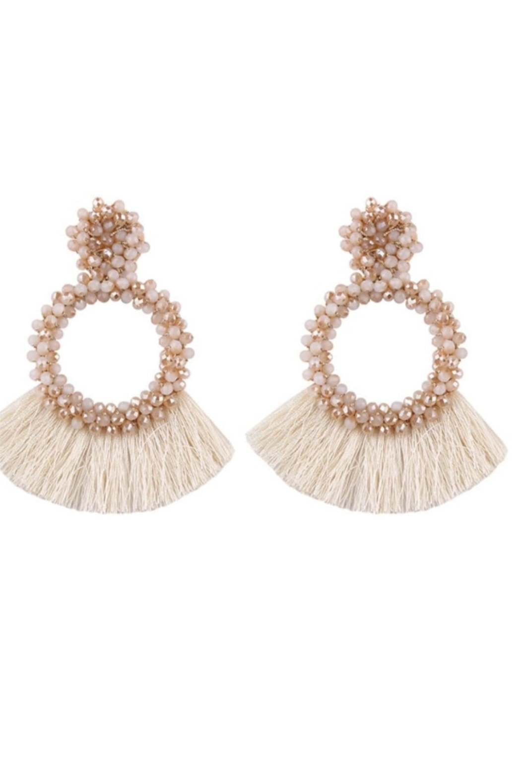 Petunias Beaded Fringe Earrings - Front Cropped Image
