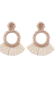 Petunias Beaded Fringe Earrings - Front cropped