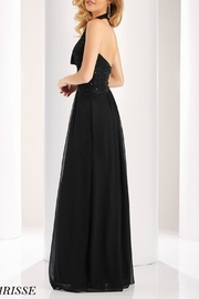 CLARISSE Beaded Halter Gown - Front full body